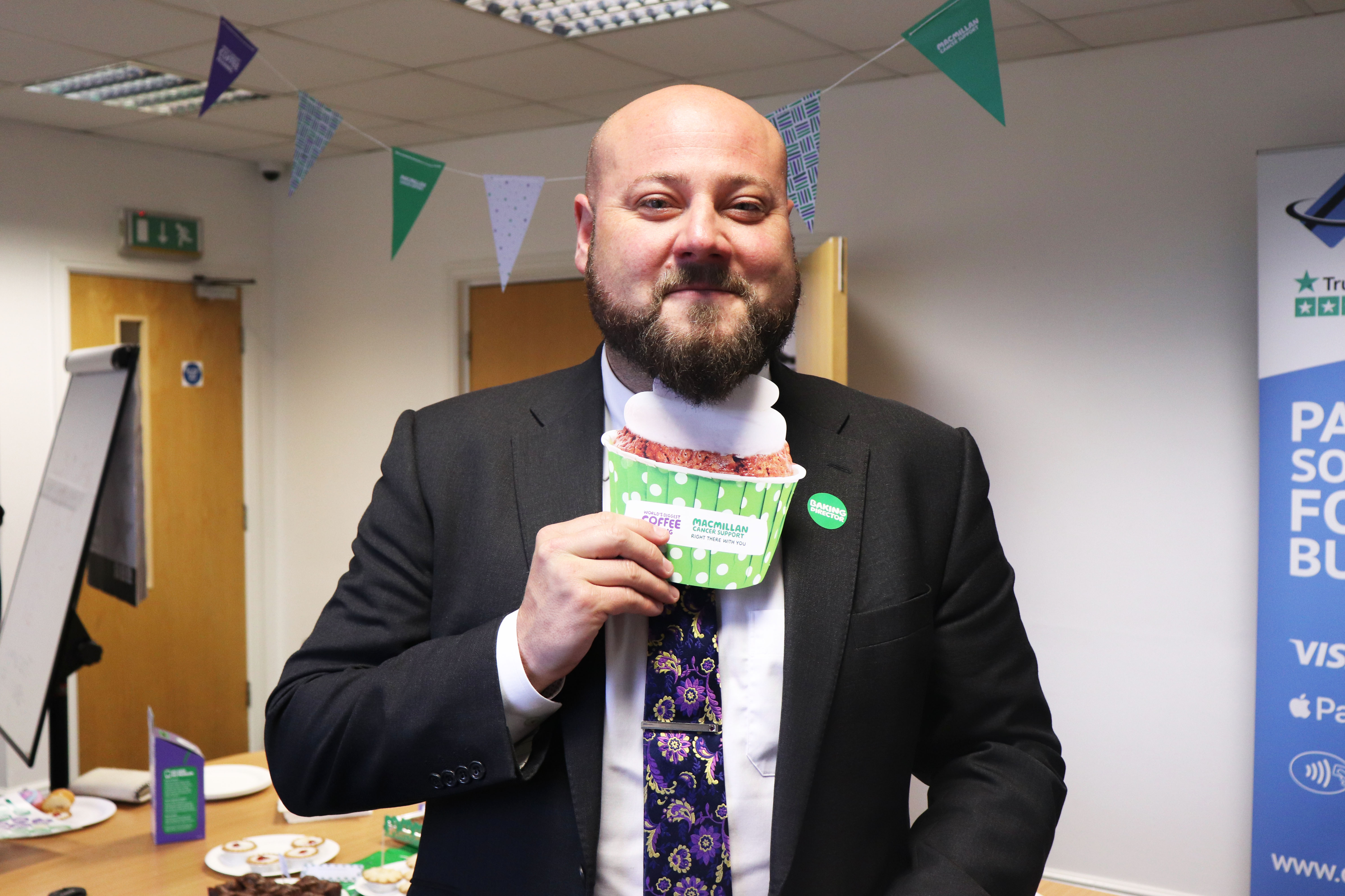 Card Saver get their aprons on for Macmillan's World's Biggest Coffee Morning